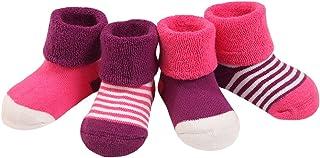 DEBAIJIA 4 Paia Calzini Bambini Calze Ragazze Ragazzo Spessi Cotone Caldo Inverno Confortevole 0-36 Mesi
