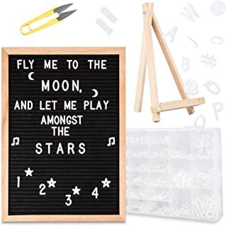 Feltwrite Black Felt Letter Board with Stand 12x16 + Letter Board Accessories - 591 Changeable Characters, 3/4 and 1 inch Letters, Emojis, Symbols, Sorting Tray+MORE (Oak Frame Message Board)