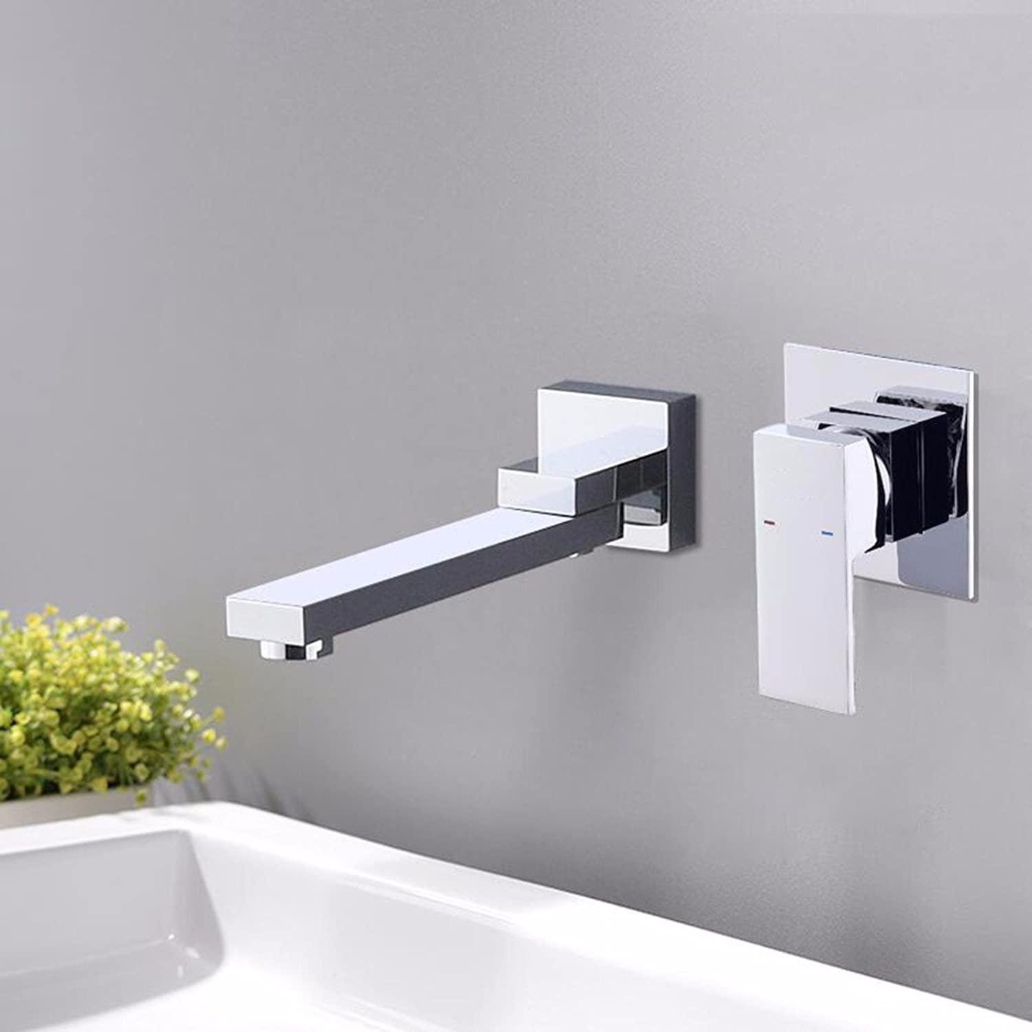 QPGGP-Basin Mixer Yaguang black embedded basin faucet, all copper in wall cold and hot water washbasin faucet,B
