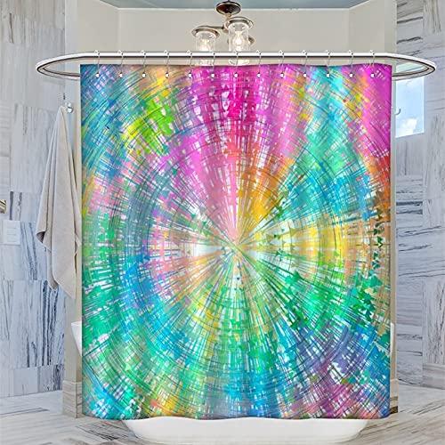 Bunte Batik-Duschvorhänge-Set für Badewannen, Toilette, 183 x 183 cm, langlebig & waschbar, mit 12 Kunststoffhaken