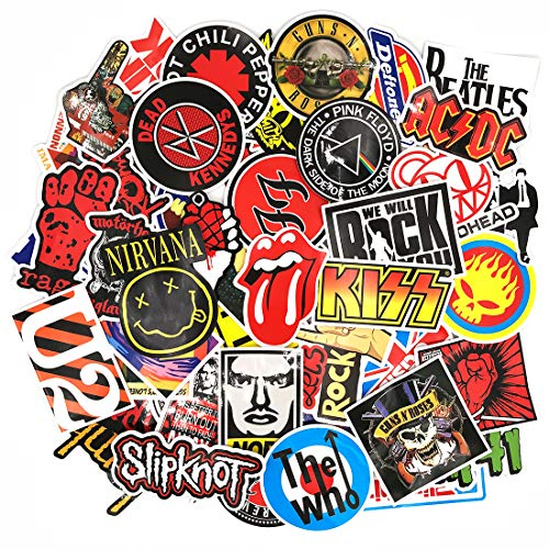 makstore 55 Pieces Band Rock Punk Stickers for Laptop Cars Motorcycle Bike Graffiti Patches Skateboard Music Stickers Waterproof