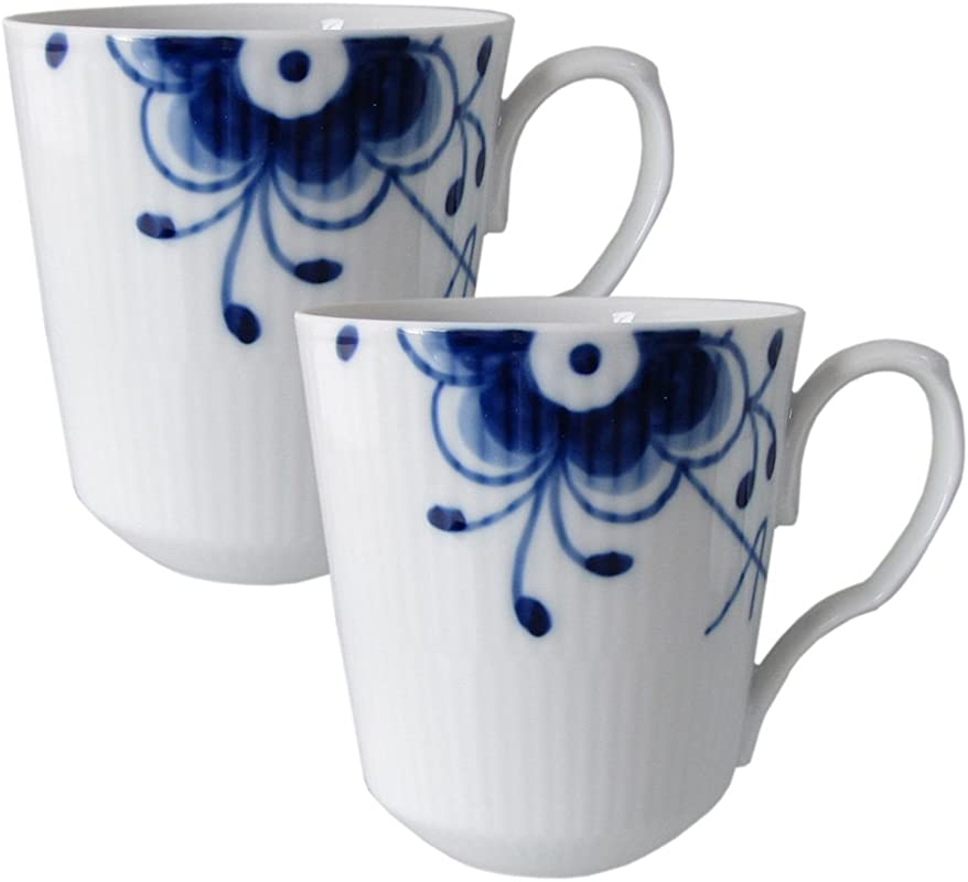 Blue Fluted Mega 12 5 Oz Mugs Set Of 2