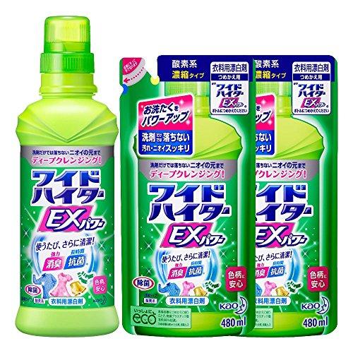 【まとめ買い】ワイドハイターEXパワー 衣料用漂白剤 液体 本体(600ml)+詰替用(480ml)×2個