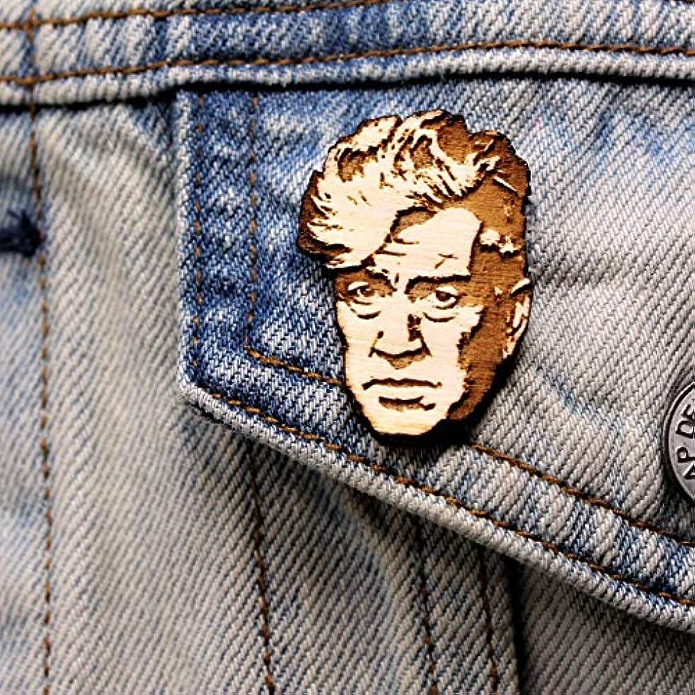 David Lynch Tribute Lapel Pin | Twin Peaks Director Natural Wood Brooch