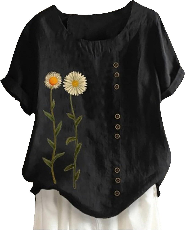 Women Summer Tops Women's Summer Casual O-Neck Short Sleeve Flower Printing Loose Shirt Tops