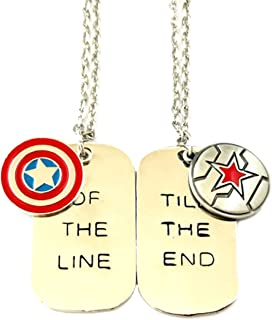 Superheroes Brand Captain America and Winter Soldier Marvel Comics 2PK BF Necklace Pendant w/Gift Box Movies Cartoons Superhero by