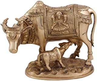 Indian Handicrafts Export Arihant Craft Cow N Calf Idol Cow And Calf Statue Sculpture Hand Work – 16 Cm (Brass, Gold) Showpiece - 16 Cm (Brass, Yellow, Gold)