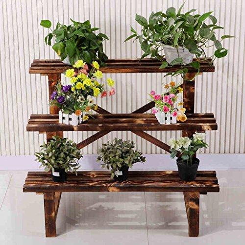 Fu Man Li Trading Company Fleur de fer à repasser en bois véritable salon de plancher multi-étages balcon multi-viande en plein air pot de fleurs A+