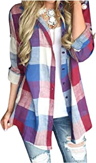 Vska Women Lapel Plaid Long-Sleeve Oversize Buttons Blouses Tops Shirts Red 4XL