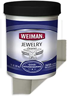 Weiman Jewelry Cleaner Liquid with Polishing Cloth – Restores Shine and Brilliance to Gold, Diamond, Platinum Jewelry and Precious Stones – 7 Ounce - Not Intended for Silver