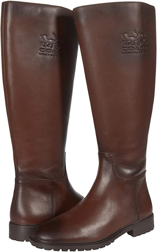 COACH Fynn Leather Boot II,Walnut