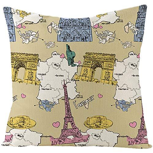 Banemi Funda de Cojines Navidad 45X45cm, Torre Eiffel, Arco de Triunfo de París Y Mapa Poliéster Amarillo Rosa para La Decoración del Hogar