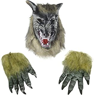 Halloween Mask Horror Devil Costume Werewolf Mask Gloves Wolfman Claw Paws Party Costumes Props for Adult Unisex Animal Fancy Dress