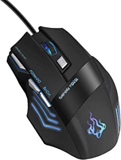 QueenDer Ratón Gaming, Ratones Gaming Profesional con Cable USB Gaming Mouse Óptico, 4 dpi Adjustables y 7 Botón Compatible con Windows 7, 8, 10, XP, Vista, ME, 2000 y Mac OS - Negro