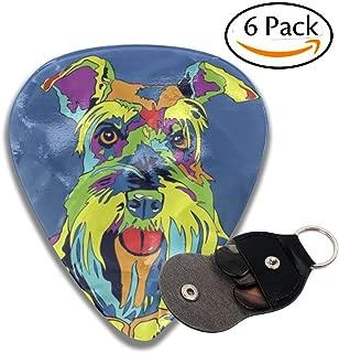 DRUIPO Multi-Color Schnauzer Dog Celluloid Guitar Picks 6 Pack Includes Thin, Medium, Heavy & Extra Heavy Gauges
