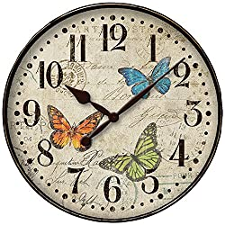 Westclox 32897BF Round Butterfly Wall Clock, 12