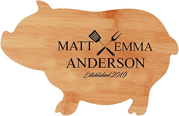 Animal Shaped Personalized Cutting Board Custom Engraved Bamboo Cutting Board PIG