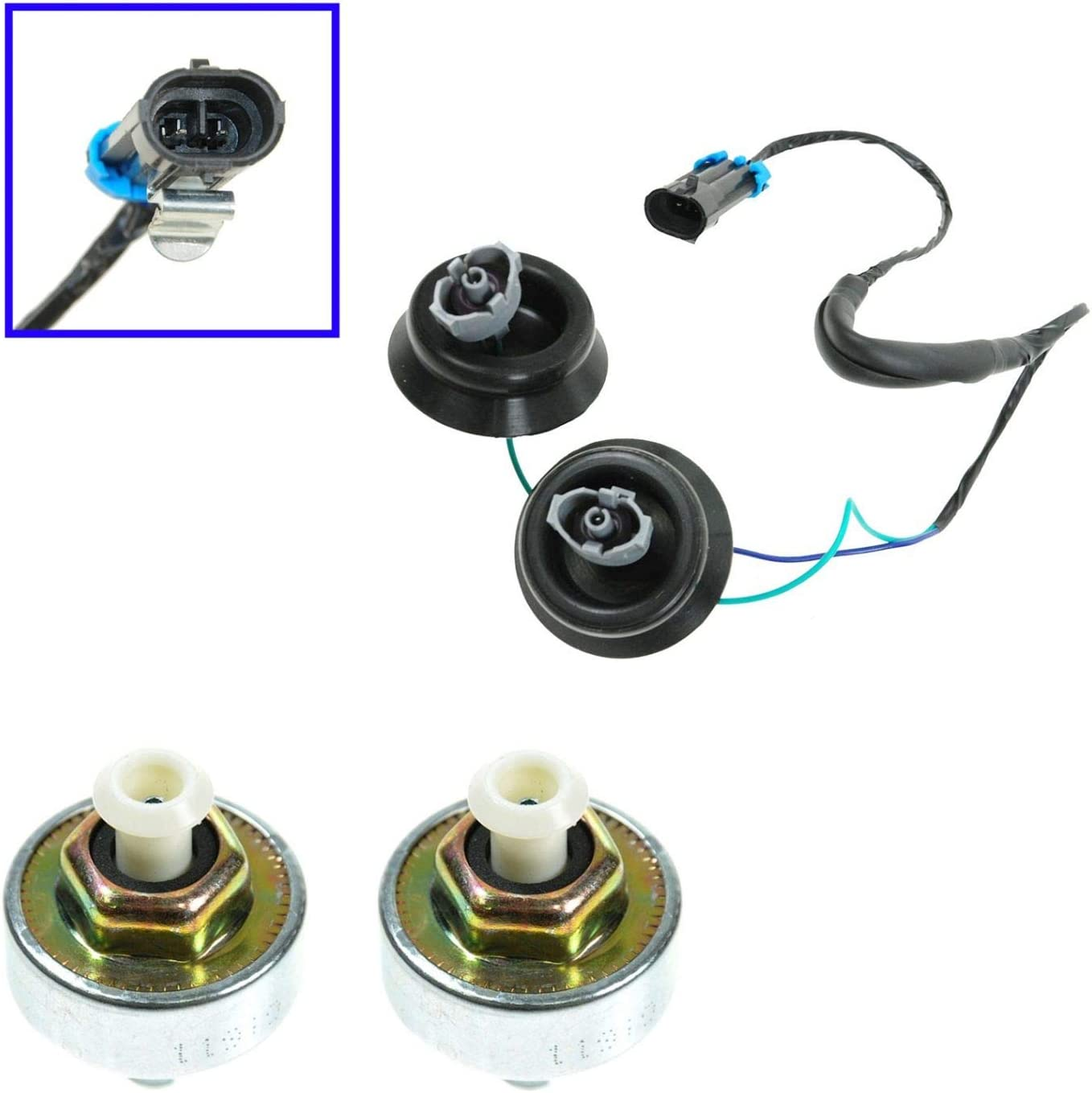 Ranking Indianapolis Mall TOP16 Knock Sensor with Harness Pair Kit GMC Set Silverado Chevy S for