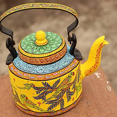 Pattachitra Hand Painted Aluminium Kettle Teapot Wedding Gift Table Centerpiece Housewarming Gift Tea Party mkk-49