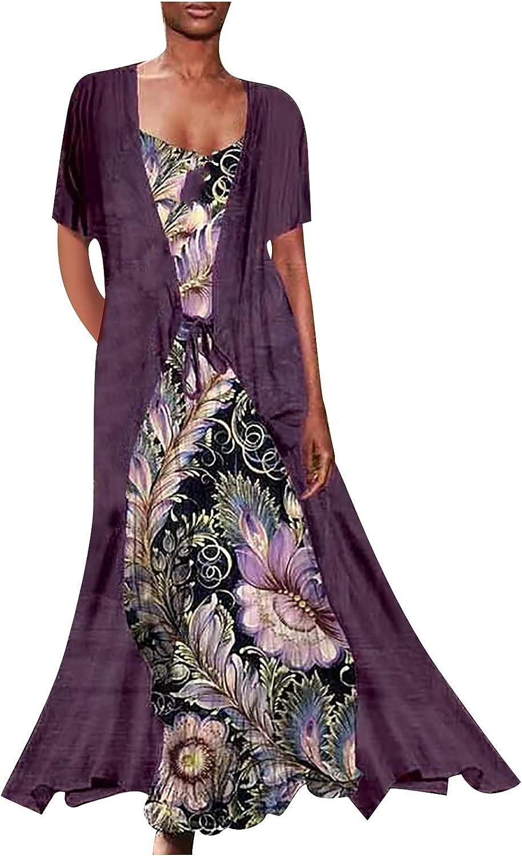 YingeFun Womens Dresses Casual 2 Piece Skirt Sets Dress Spaghetti Strap Dresses Swing Tank Flowy Boho Casual Beach Midi
