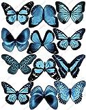 Cakeshop 12 x Vorgeschnittene Hellblau Essbare Schmetterlingskuchen Topper (Tortenaufleger, Bedruckte Oblaten, Oblatenaufleger) -