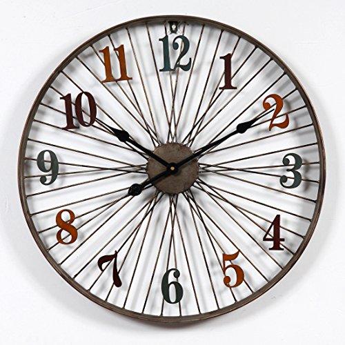 Foxom Reloj de Pared Vintage, 3D Reloj de Pared de Metal con Números Romanos, Diseño de la Rueda de Bicicleta, 60cm, Tipo 3