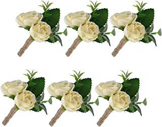 YSUCAU Handcrafted Boutonniere for Men Wedding, Brooch Bouquet Corsage Classic Artificial Groom Bride Flowers with Pin for Wedding Prom Party 6 Pcs