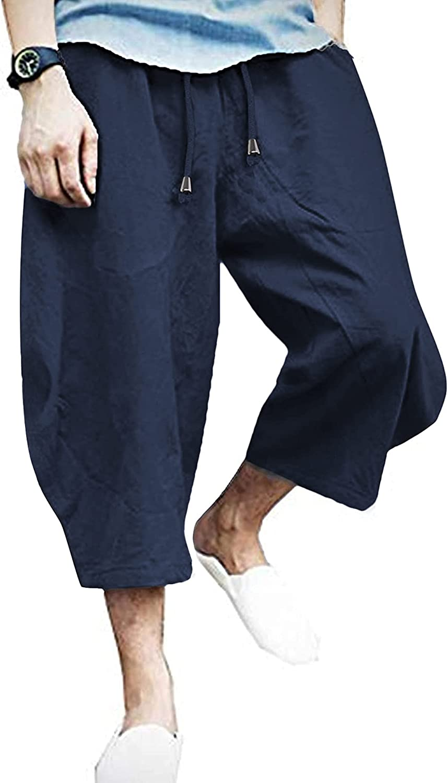 COOFANDY Mens Baggy Harem Pants Los Angeles Mall Linen Drawstring Cotton Max 65% OFF Leg Wide