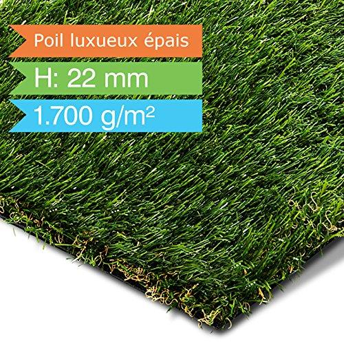 Gazon artificiel casa pura de luxe | herbe synthétique au mètre | pelouse, balcon, jardin, terrasse etc. | ultra résistant aux intempéries - 900x200cm