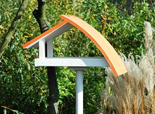 """Luxus-Vogelhaus 31012e Design Vogelhaus """"New Wave"""" aus Holz (Kiefer) für Garten, Balkon, mit Ständer, Schrägdach, Farbe: weiߟ-orange – Vogelhäuschen Vogel-Futterhaus - 3"""