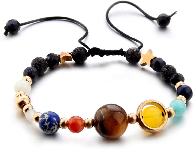 ONLYJUMP Planet Bracelet Solar System Universe Galaxy Bracelet Handmade Natural Stone Bead Bracelet String Adjustable Astronomy Gifts Bangle for Women Men Kids