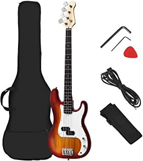 Costzon Full Size Electric 4 String Bass Guitar for Beginner Complete Kit, Rose Fingerboard and Bridge, w/Two Pickups & Two Tone Control, Guitar Bag, Strap, Guitar Pick, Amp Cord (Sunburst)