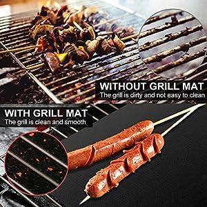 Yosemy BBQ Grillmatte (7er Set) 50X40CM 40X33CM Teflon Grillmatten,100% Antihaft bis 260°C/500℉,Wiederverwendbar Grillmatte für Gasgrill, Holzkohlegrill, Elektronischen Grill, Backofen