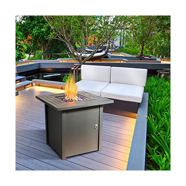 Peaktop Firepit Outdoor Gas Fire Pit Metal with Glass Rocks