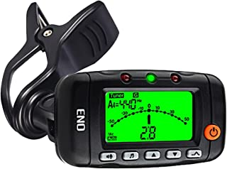Portable Clip on Violin Tuner and Metronome with Sound, Acoustic Clip on Guitar Tuner 3 in 1, Metronome, Tone Generator for Guitar, Ukulele, Bass, Violin (Black)