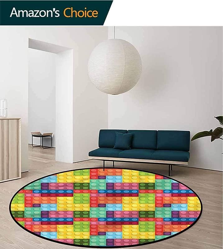 RUGSMAT Colorful Modern Machine Washable Round Bath Mat Kids Building Toy Blocks Floor Mat Home Decor Diameter 24