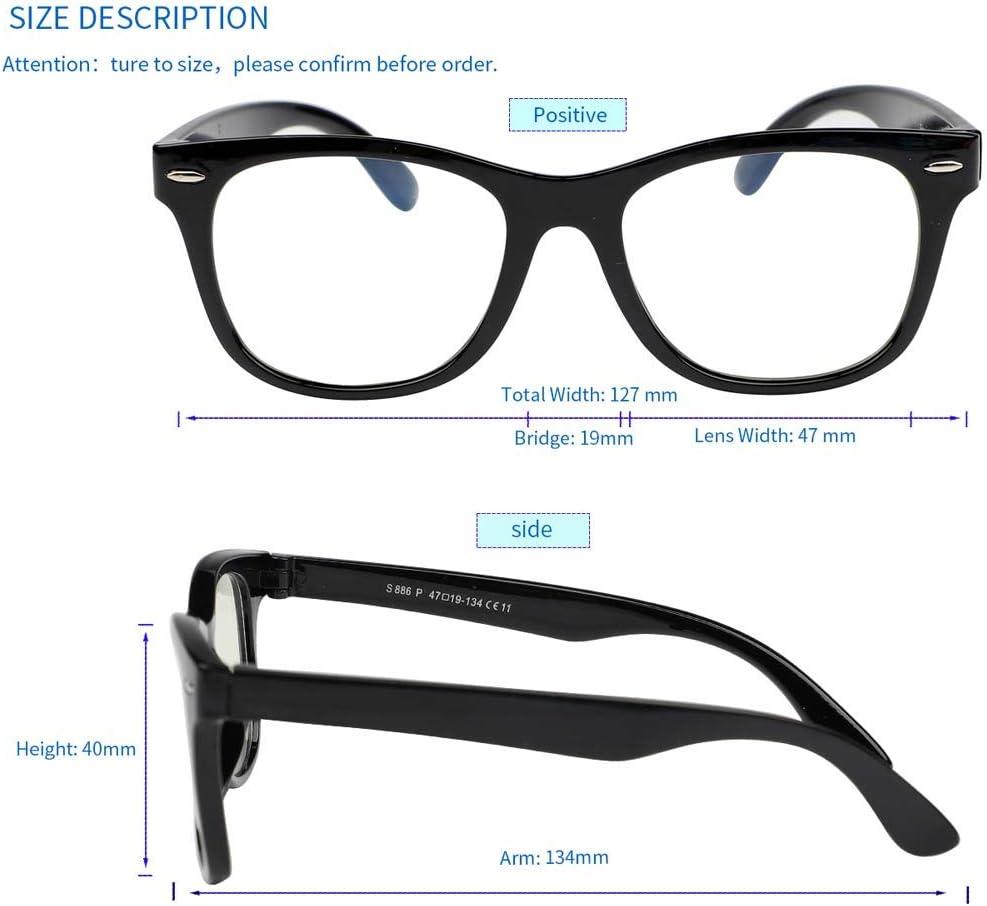 FaerieKing Blue Light Blocking Glasses, Square Nerd Eyeglasses Computer Gaming Glasses for Kids Girls Boys, Anti Glare UV Digital Eyestrain(Black,127mm)