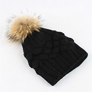 Hat Fashion Wool Warm Hat Double Lining Hairball Womens Winter Knitting Daily Slouchy Hats Fashion Accessories (Color : Black)