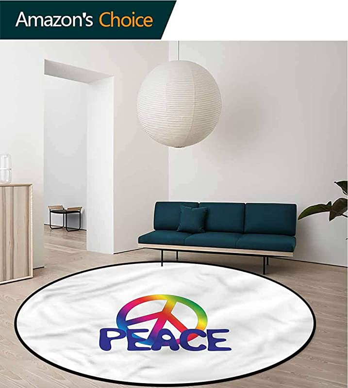 RUGSMAT Groovy Computer Chair Floor Mat Hippie Typography Peace Text Protect Floors While Securing Rug Making Vacuuming Diameter 47