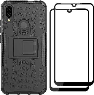 FANFO® Soporte Plegable Funda + [2 Pack] Cristal Templado para Xiaomi Redmi Note 7, Negro