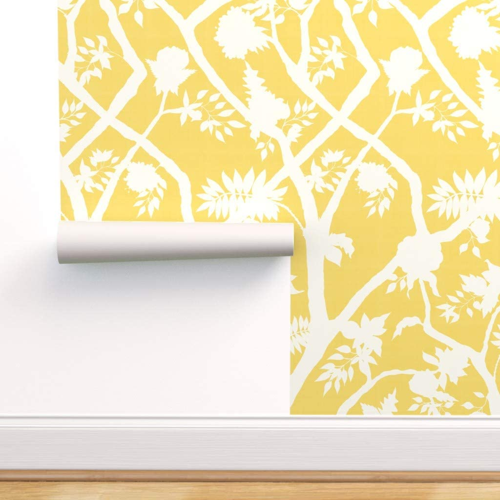 Peel-and-Stick Removable Gifts Wallpaper - Branch Gir Silhouette Peony Popular