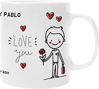 Taza Personalizada con fecha y nombre Pareja Regalo San Valentín Enamorados
