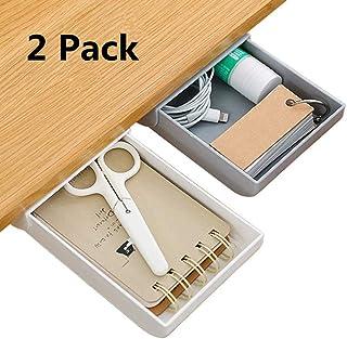 Under Desk Drawer, Under Desk Storage Organizer Pencil Tray Self-Adhesive Pop-Up Hidden Desktop Organizer Expandable Drawer Tray for Office School Home Desk White & Grey (2-Pack)