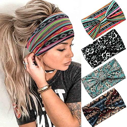 Aceorna Boho Headbands Wide Bandeau Hair Band Knot Turban Head Band Stretch Leopard Twist Head Wraps Elastic Yoga Sweatband Stylish Head Bands for Women and Girls 4 Pcs (Set A)