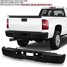 ACANII - For 2007-2013 Chevy silverado/GMC Sierrsa 1500 Black Steel Complete Rear Step Bumper w/o Sensor Holes Assembly