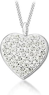 Tuscany Silver Crystalique心型纯银吊坠46厘米/18英寸