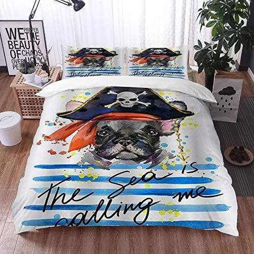 Mingdao Set Biancheria da Letto, Microfibra con Lenzuolo,Animali Domestici Tema Acquerello Pirata Bulldog Francese Arte,1 Copripiumino 200 x 200 cm + 2 federe 50 x 80 cm