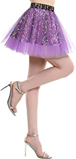 BeryLove Damen Pailletten Rock Gold Petticoat Tüllrock Mini Tanzrock Mädchen Festliche Glitzernd