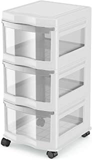 Life Story Classic 3 Shelf Storage Container Organizer Plastic Drawers, White photo