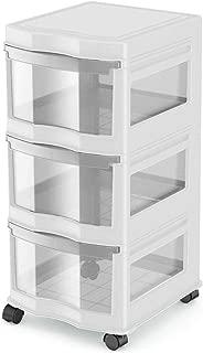 Life Story Classic 3 Shelf Storage Container Organizer Plastic Drawers, White photo